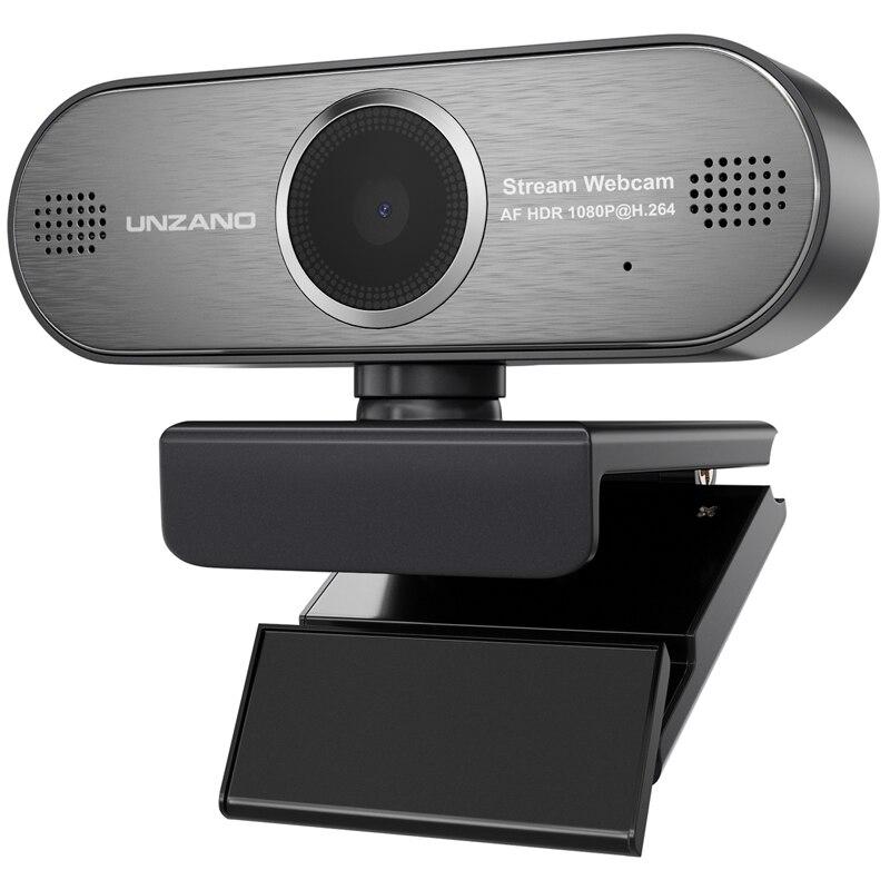 Unzano Pro Flux Webcam 1080 P HD Autofocus Webcam Jeu Streaming Conférence Webcam HDR Vidéo maquillage pour cheveux Pour PC Ordinateur Portable