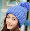 2017 hot  Autumn And Winter Fashion Keep Warm Hair Bulb Wool Cap All-match Winter Hats Korean Lovely Color Mixing Winter Bounet