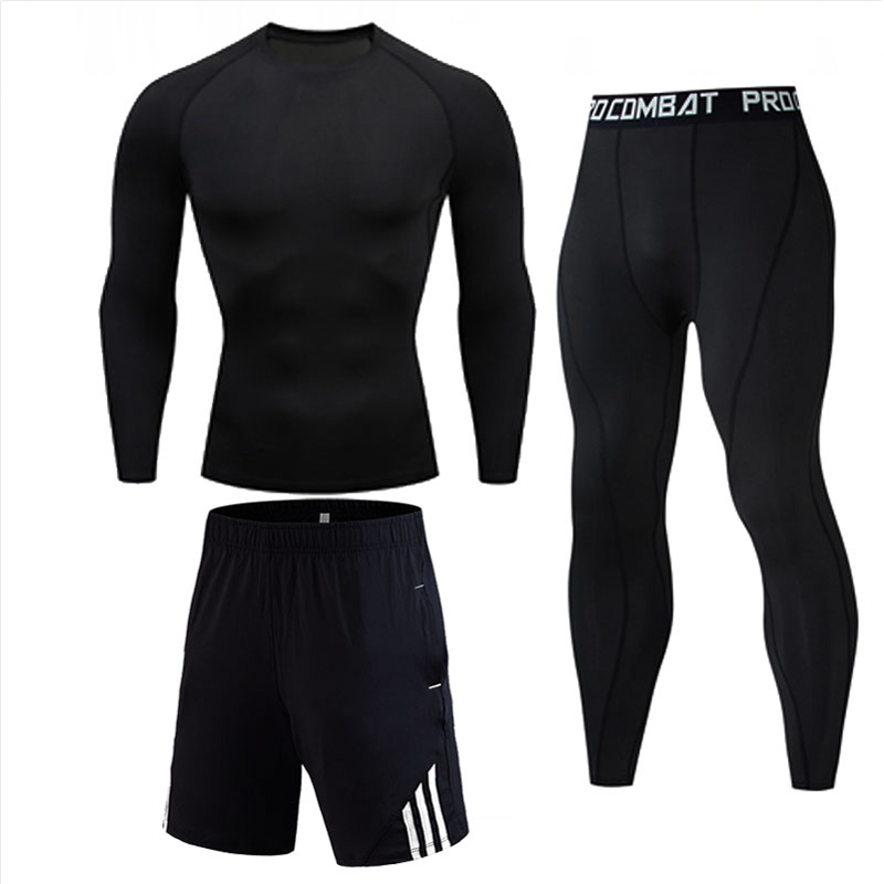 3 Piece Mens Compression Set Running Tights Workout Fitness Training Tracksuit Long Sleeves Shirts Sport Suit Rashgard Kit Gym