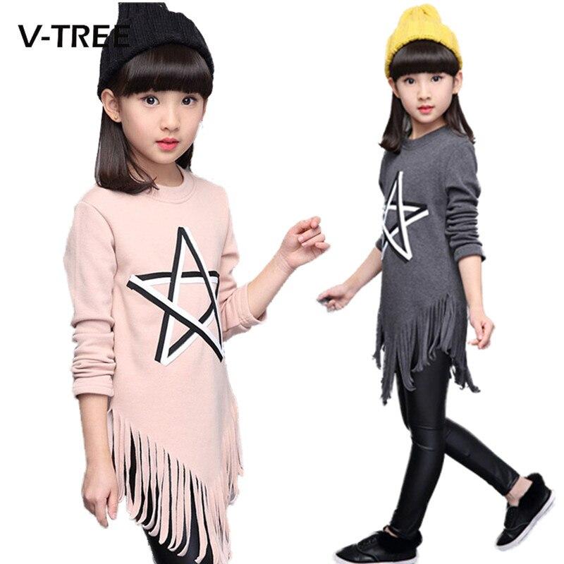 V-TREE Spring Teenagers Dress Tassel Girls Dress Clothes Long Leeve 10 12 13 Years Dress For Girl School Kids Fashion Dress tree girl