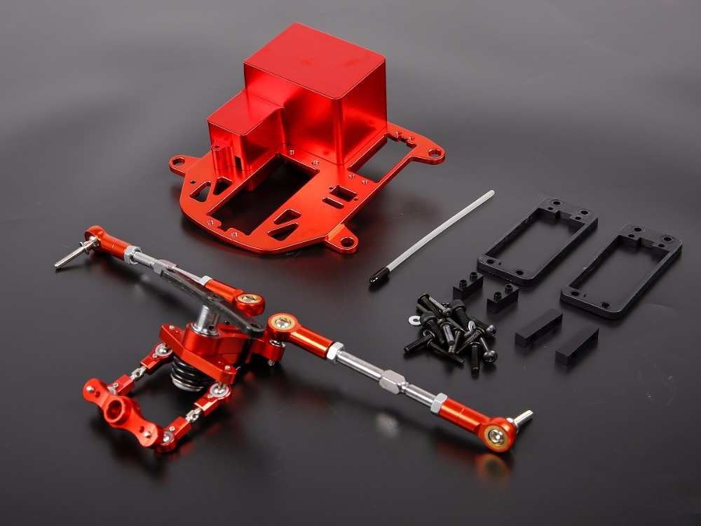 RC PARTS upgrade part symmetric steering system with CNC metal battery case kit for 1/5 HPI Rovan KM Baja 5B 5T 5SC