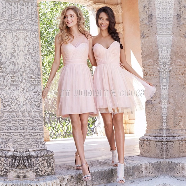 Super Korte Licht Roze Bruidsmeisjes Jurk Geschulpte Plooi Tulle Korte #EL14