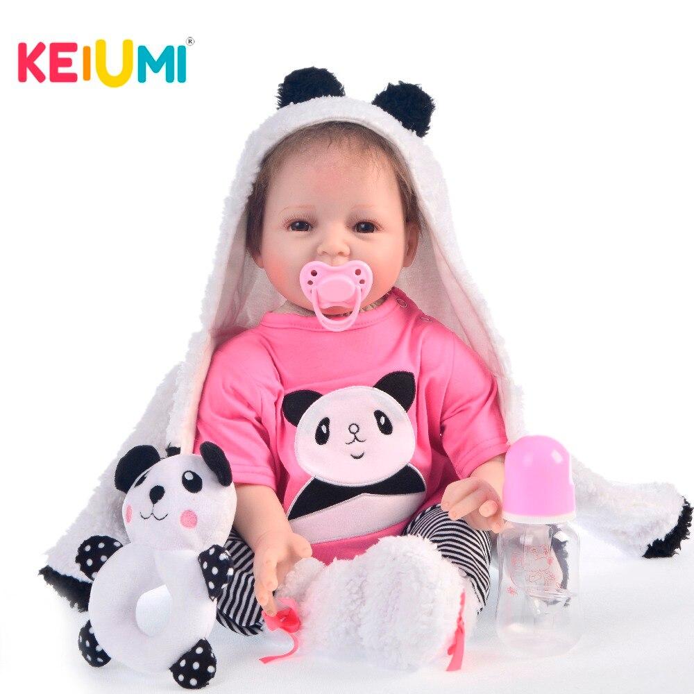 KEIUMI 2019 New Silicone Reborn Baby Dolls 55 CM Smile Baby Reborn Girl True to Life