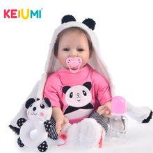 KEIUMI-muñecas de bebé de silicona para niñas, juguete de bebé de 55 CM, con sonrisa, de 22 pulgadas
