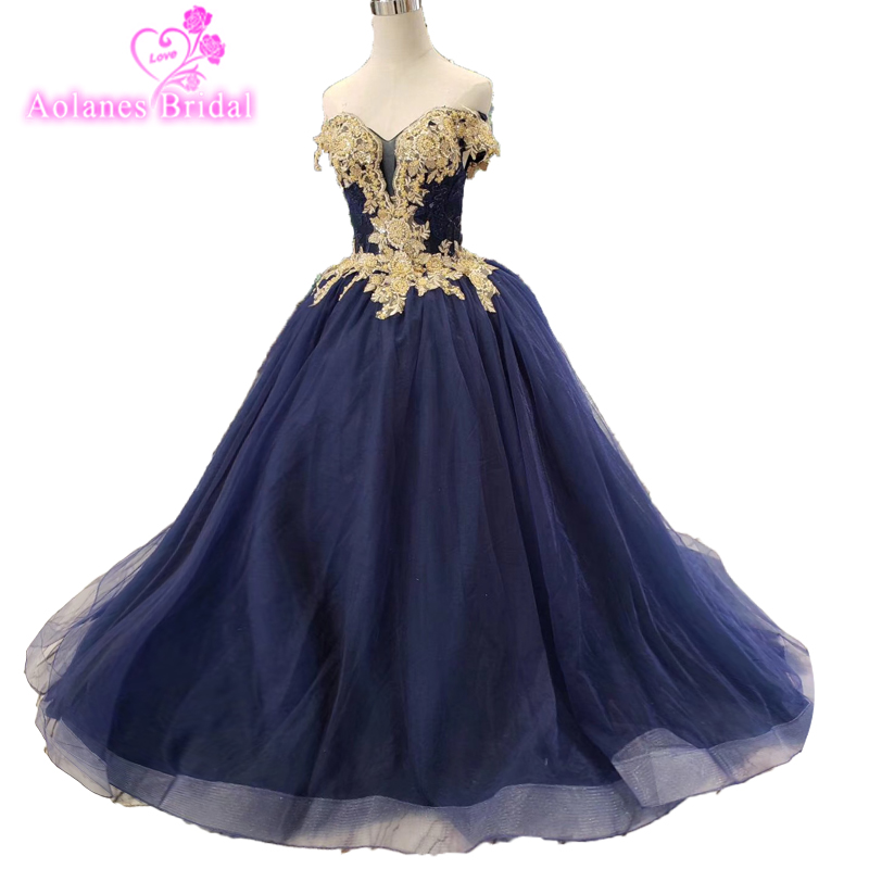 2019 Floor Length Off The Shoulder Gold Beaded Embroidery Bodice Sparkly Navy Blue Skirt long   Prom     Dresses