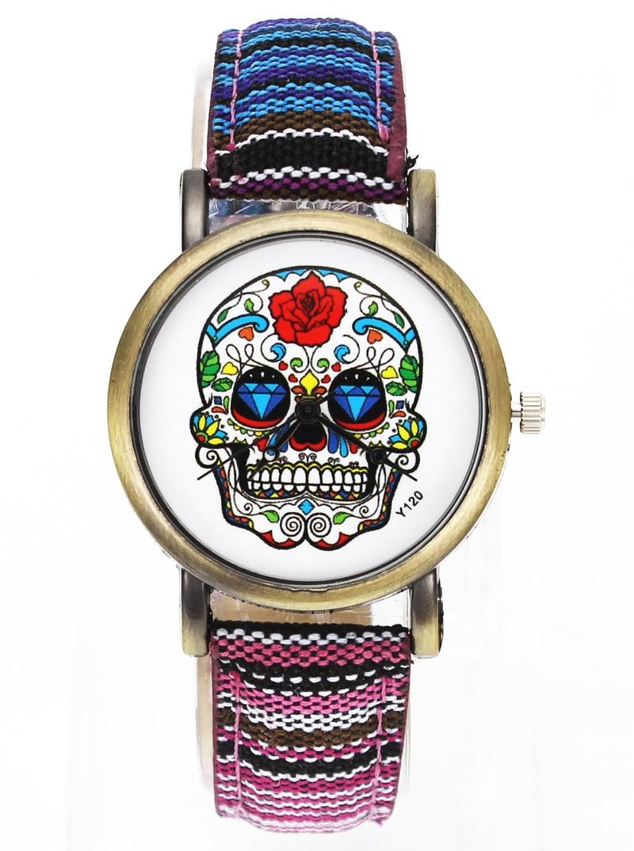 Skull Skelett Mode Rose Flowers Watch Män Kvinnor Militär Denim Band Flerfärgade Canvas Strap Analog Quartz Armbandsur