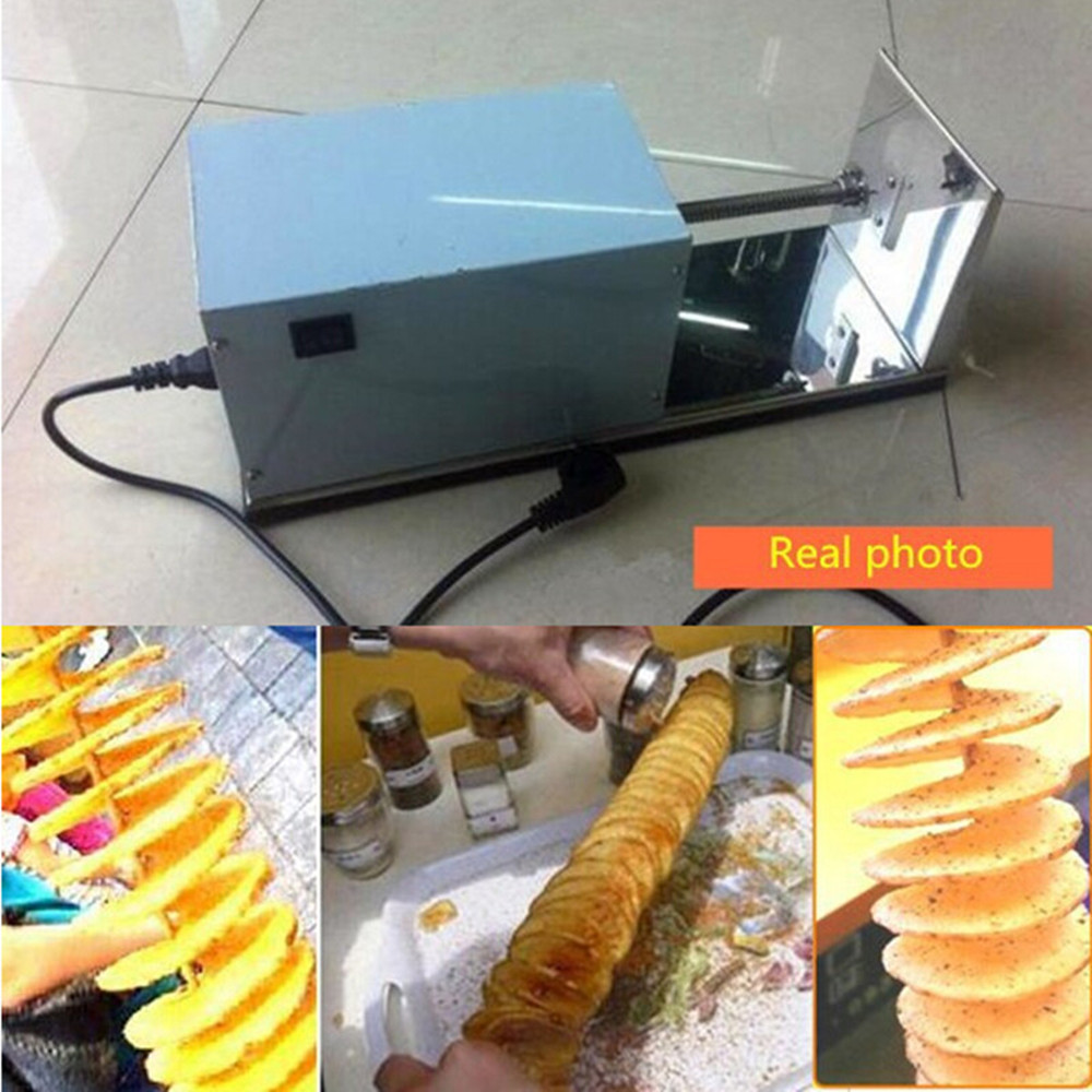 Excellent Quality Stainless Steel Electric Tornado Potato Machine Spiral Potato Slicer Chips Cutter ZF electric stainless steel spiral potato slicer tornado potato cutter machine potato tower fruit vegetable kitchen tool zf