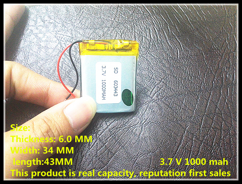 Factory Direct MP3, MP4, navigation , security instrument-specific polymer battery 603443 3.7V 1000mah