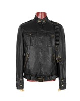 Autumn And Winter Men's Cotton leather Black Jacket Style Zipper Punk Jacket Features Chain Repair Long Sleeved Black Coat