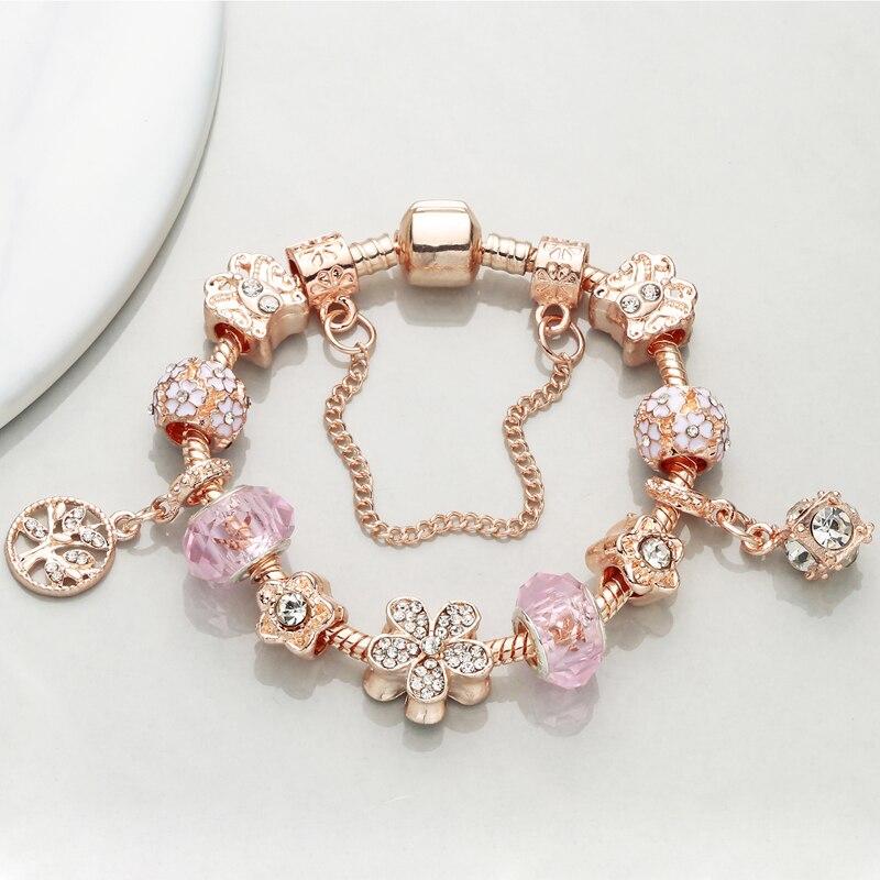 CHIELOYS Dropshipping Flower Murano Beads Charm Bracelets Fits European Pandora Bracelets & Bangles for Women DIY Jewelry Gift