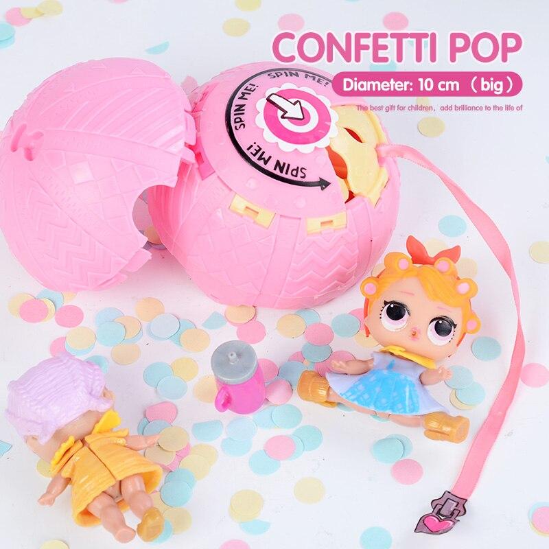 Confeti pop 10 cm grande lol muñeca en bolas 3 huevo serie juguetes para niñas partido figura de acción agua pulverizada color cambiante vestir
