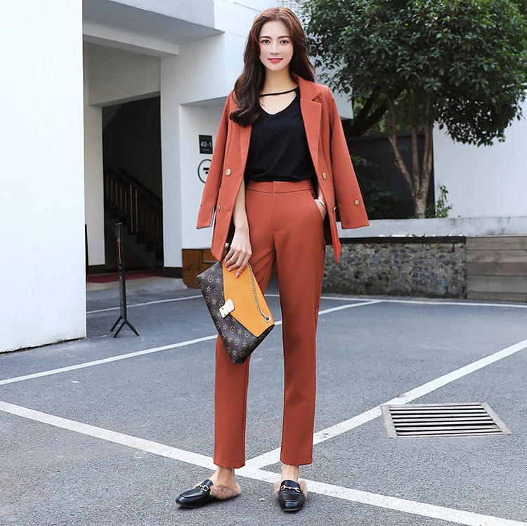 Set female 2018 autumn new temperament casual long-sleeved small suit jacket + casual pants elegant fashion loose two-piece