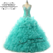 Sweetheart Sheer Back Beading Cheap Quinceanera Gowns Formal Ball Gown  Quinceanera Dresses Blue Green Dresses 15 Years Party