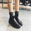 2016 Botas de Lluvia de la Plataforma de Las Señoras Del Tobillo de Goma Botas de Tacones Bajos Mujeres Botas Slip On Pisos Zapatos Mujer Plus Size 36-41