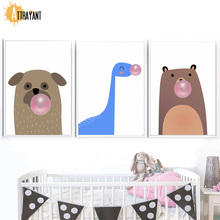 ФОТО dog bear dinosaur bubbles gum nordic posters and prints wall art canvas painting wall pictures for kids room baby room decor