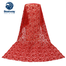 Bestway Pure Handmade 3D Lace Fabric Embroidered African French High Quality Beaded Tulle Wedding