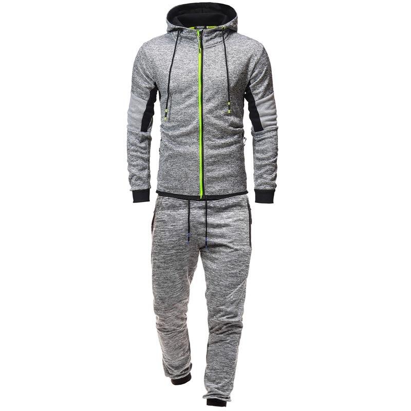 Costume de Sport d'hiver en coton mode Jogging costumes pour homme décontracté Sport chaud costume hommes manches longues à capuche haut et pantalon survêtement ensemble