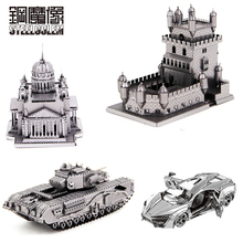 3D Metal Puzzles Model Churchill Tank Lighthouse Stainless Steel Nano-dimensional Assembling Jigsaw Educational Birthday Toys