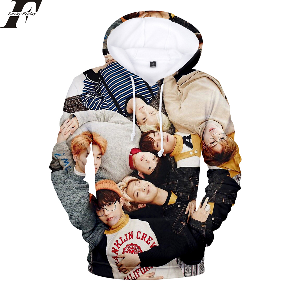 LUCKYFRIDAYF 2018 BTS kpop tracksuit 3D printed Hoodie Sweatshirt Women/Men moletom hit hop Hoodies Casual Coats Clothes 4xl