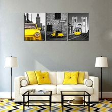 Black And Yellow City Wall Art Taxi Motor Tram Picture Photo Canvas Print Modern Home Office Decor Giclee