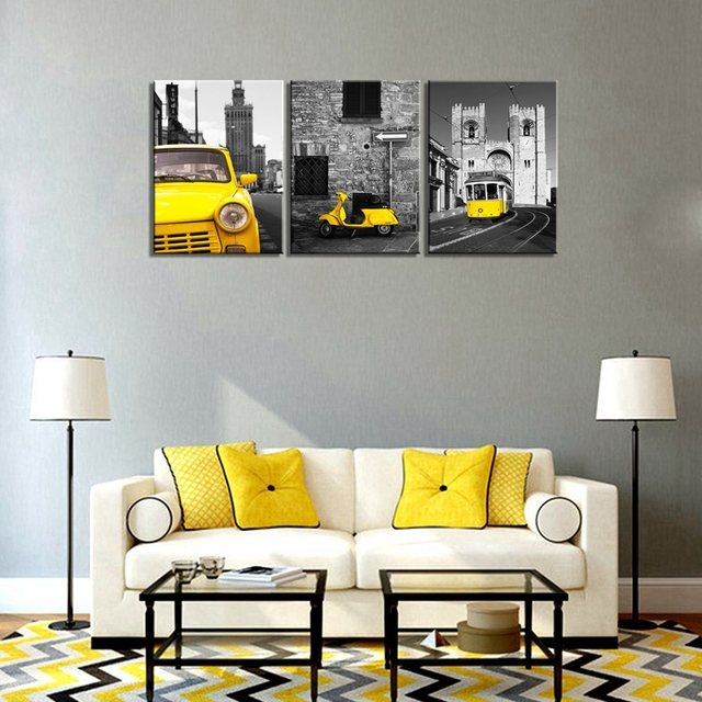 Black And Yellow City Wall Art Taxi Motor Tram Picture Photo Canvas