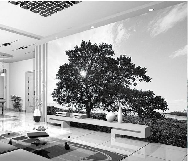 Wallpapers voor woonkamer zwart wit bomen landschap custom 3d foto ...