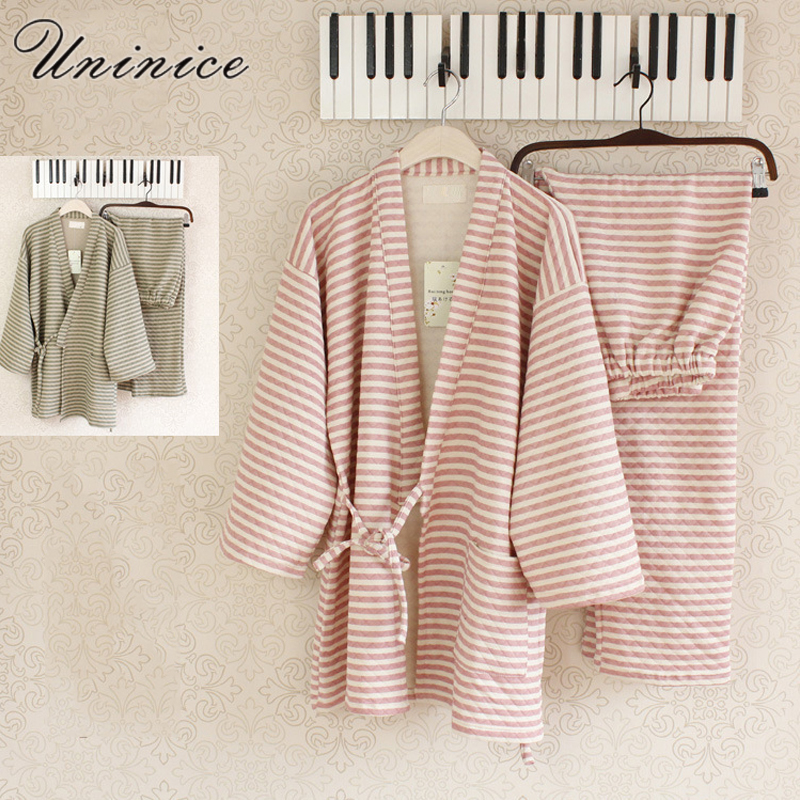 Japanese Pajamas Sets Kimono Yukata Robes Striped Winter Warm Thickening Cotton Suits Couples Dress Sleepwear Bathrobe Leisure