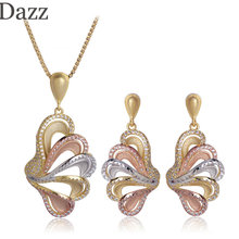 Dazz Three Tones Color Butterfly Flower Shape Pendant Necklace Earring Set Matt Spray Sand Zircon Jewelry Sets For Women Bijoux