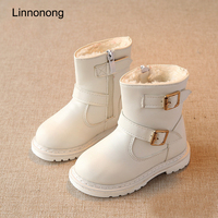 Linnonong 2017 New Winter Children Snow Boots Fashion Girls Wool Boots Keep Warm Kids Girl Leather