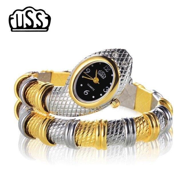 Новинка 2017 года Cussi стиль змея форме часы модные часы браслет Уникальный Дизайн Для женщин платье часы девушка Relogio feminino