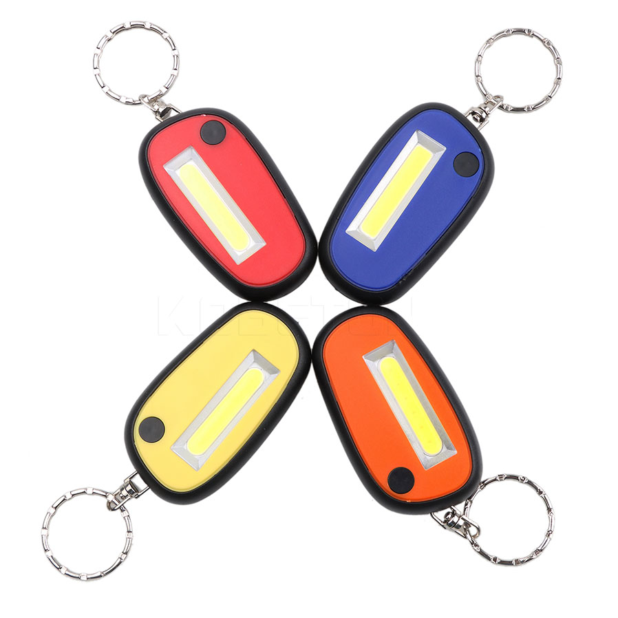 Mini Keychain Lamp Cob Led Flashlight 3-mode Mini Lamp Key Chain Ring Pvc Light Keyring Green/red/yellow/blue For Outdoor Night Key Rings