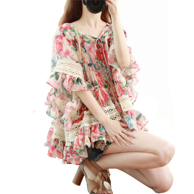 Loost Ruffle Blouse Women Tops Summer Vintage Flower Lace big Size Cute Short Sleeve Chiffon Blouse Boho Shirt Chemisier Femme