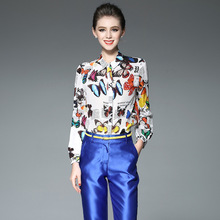 Kakagogo Fashion Chiffon Real Silk Butterfly Print Blouses Shirts Long Sleeve Xl Plus Size K290