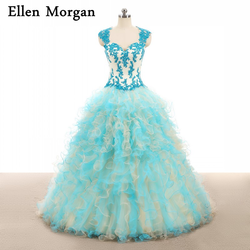Cheap Quinceanera Dresses 2019 Real Pictures Sweet 15 <font><b>16</b></font> <font><b>Sexy</b></font> Ruffles Floor Length Puffy Princess <font><b>Sexy</b></font> Elegant Prom Gowns image