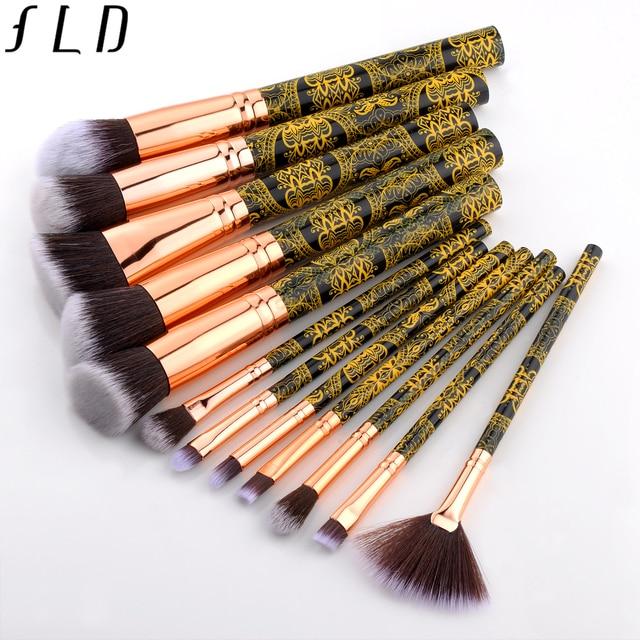 FLD professional makeup brushes Blush powder eye shadow eyeliner Brush set bohemia fan face brushes 5