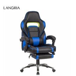 LANGRIA مريح عالية الظهر فو الجلود سباق نمط مستلق الألعاب الكمبيوتر التنفيذي كرسي مكتب مع مسند القدمين مبطن الأزرق