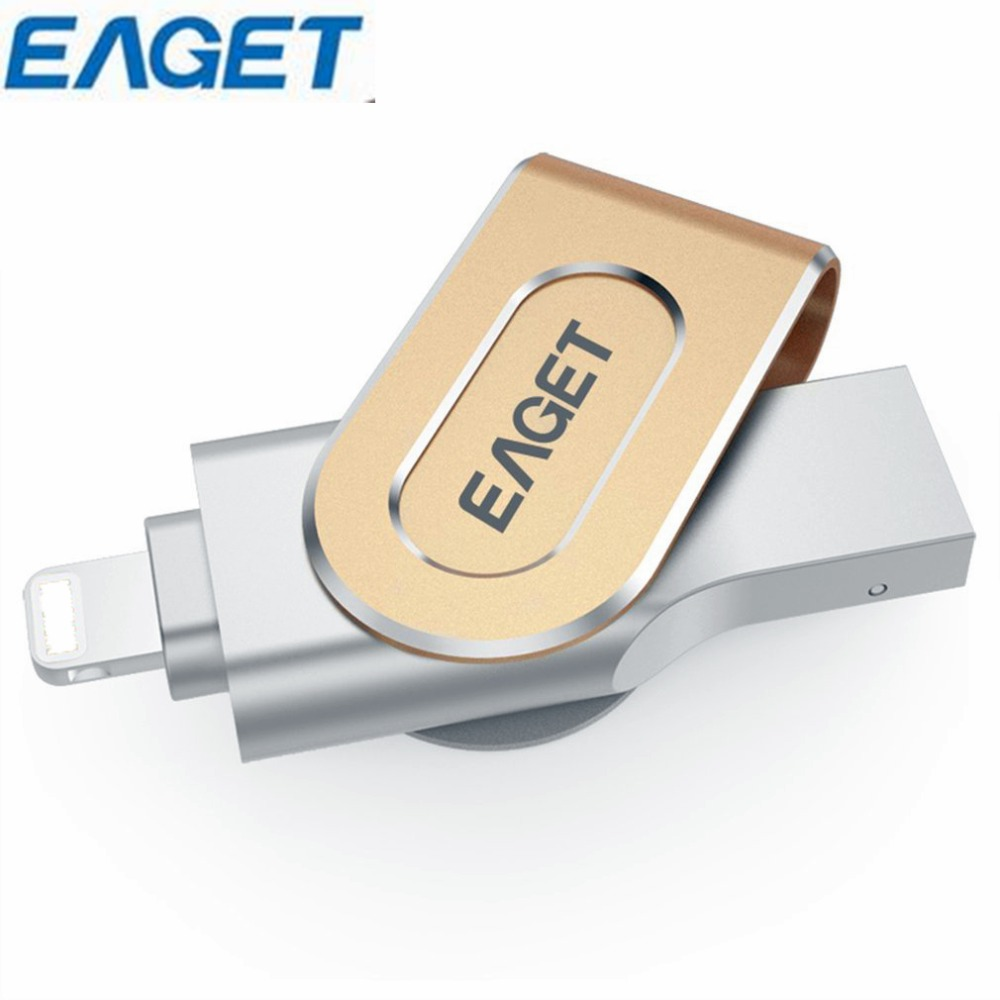 все цены на Eaget I80 USB Flash Drive 32GB 64GB 128GB OTG Metal USB 3.0 Pen drive Lightning Expansion U Disk Pendrive For iPhone 8 7 Plus онлайн