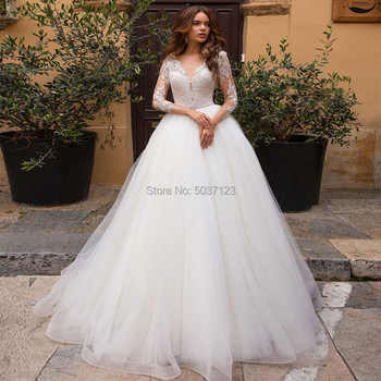 A Line Wedding Dresses Deep V Neck Long Sleeves Lace Applique Illusion Bridal Gowns Robe De Mariage 2019 Vestidos De Novia