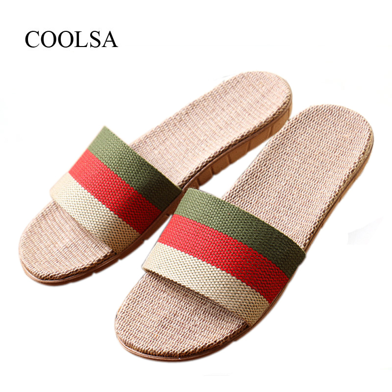 COOLSA Men's Summer Non-slip Striped Canvas Linen Slippers Men's Indoor Bathroom Flax Slippers Men's Breathable Fashion Slides coolsa women s summer flat non slip linen slippers indoor breathable flip flops women s brand stripe flax slippers women slides