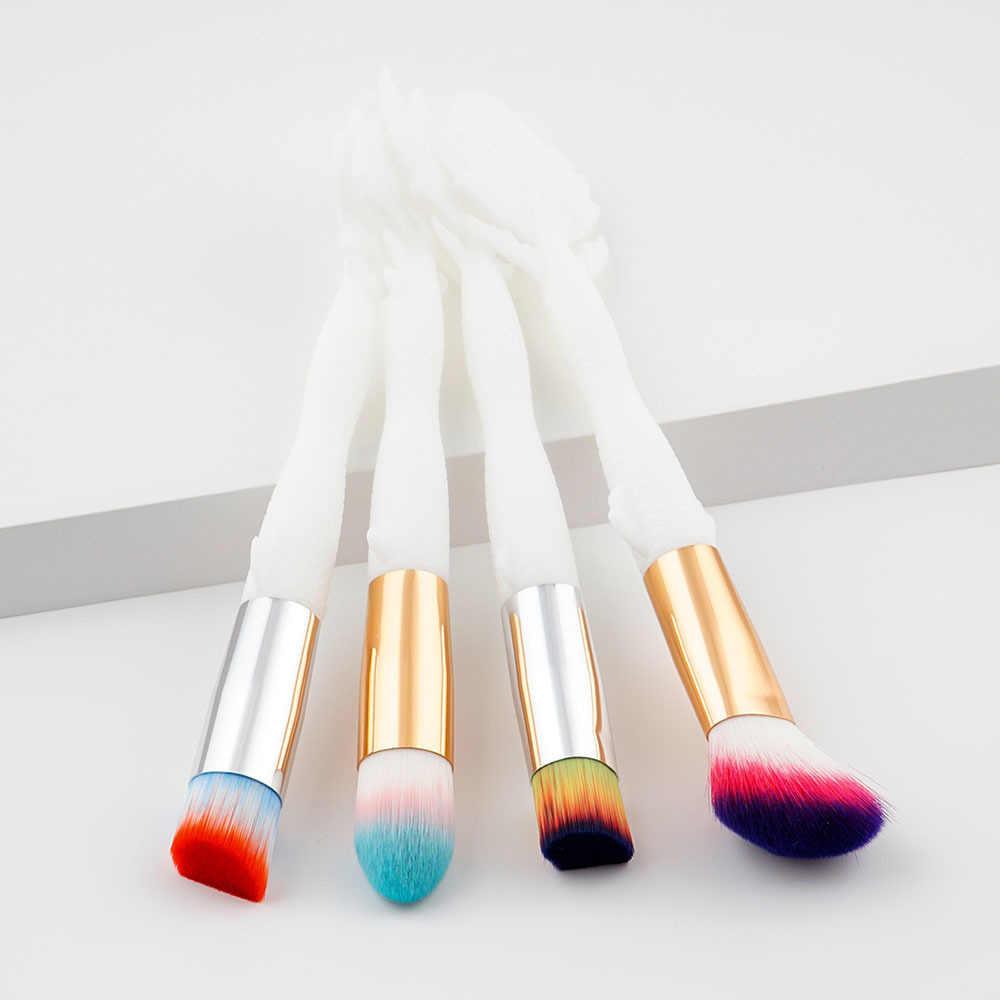BLUEFRAG 2017 Baru 4 pcs Makeup Brush set Gading Mermaid Menangani Desain Colorful Super Lembut Rambut Yayasan Powder Kosmetik Brushes