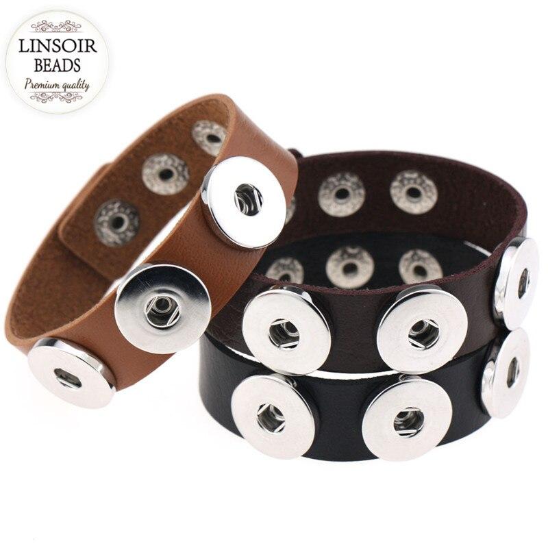 2017 14colors Punk Gothic Snap Button Leather Bracelets Men Women Adjustable Retro Handmade Charm Bracelet Snap Jewelry F6113