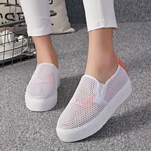 Купить с кэшбэком Summer Breathable Casual Shoes Women Flats Low Top Slip On Women Loafers Flat Heel Monster Shoes zapatos de mujer XZ37