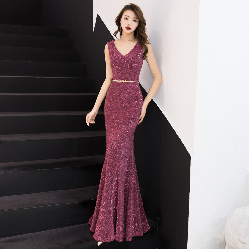 YIDINGZS New Elegant V- Long   Evening     Dress   Dark Pink Robe De Soiree Real Simple