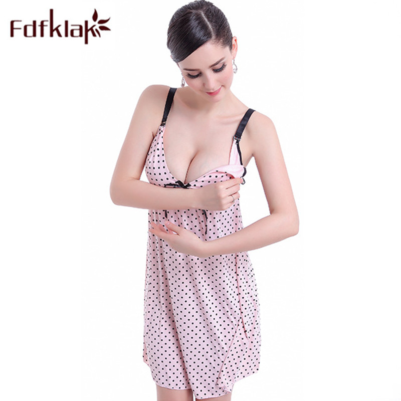 Fdfklak Summer Spaghetti Strap Feeding Nursing Nightgowns Cotton For Pregnant Women Maternity Clothing Nursing Sleepwear F18 alluring spaghetti strap flounced crisss cross dress for women