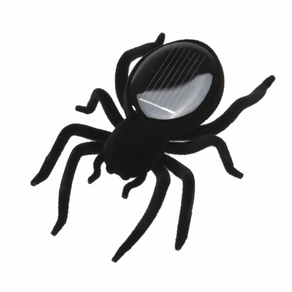 Mini Solar Powered Spider Robot Insect Toy Fun Gags & Practical Jokes Spider Simulated Black Plastic Spider