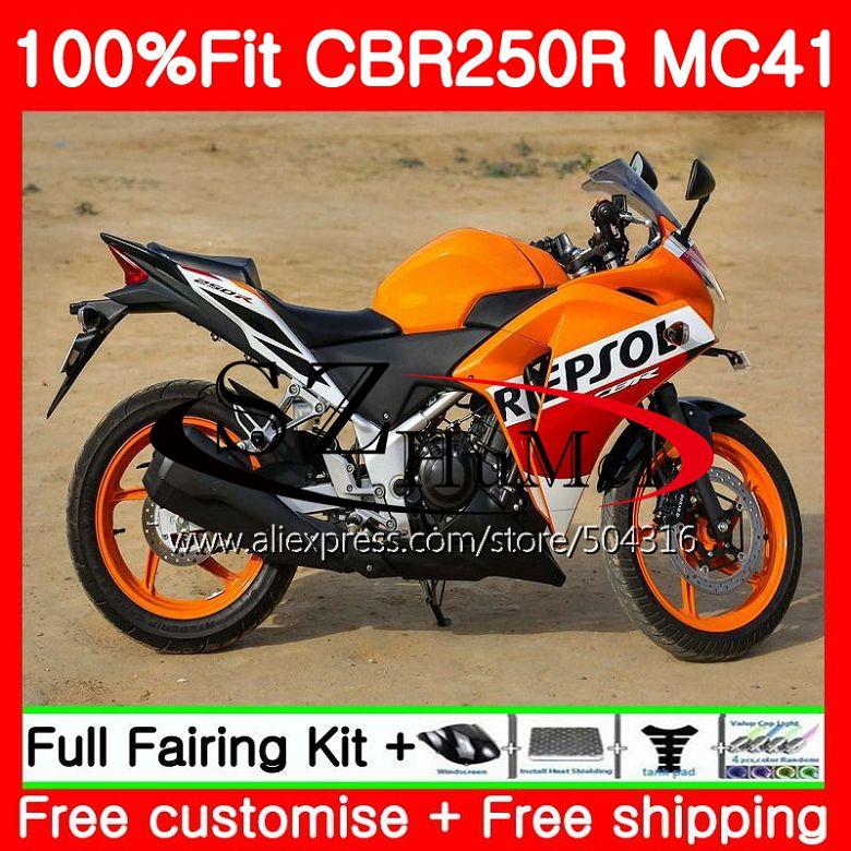 Литые изделия для Honda CBR250R MC41, возрастом 11, 12, 13, 14, 15, CBR250 R 117SH. 13 CBR 250R 250 R 2011 2012 2013 2014 2015 Обтекатели Repsol красный