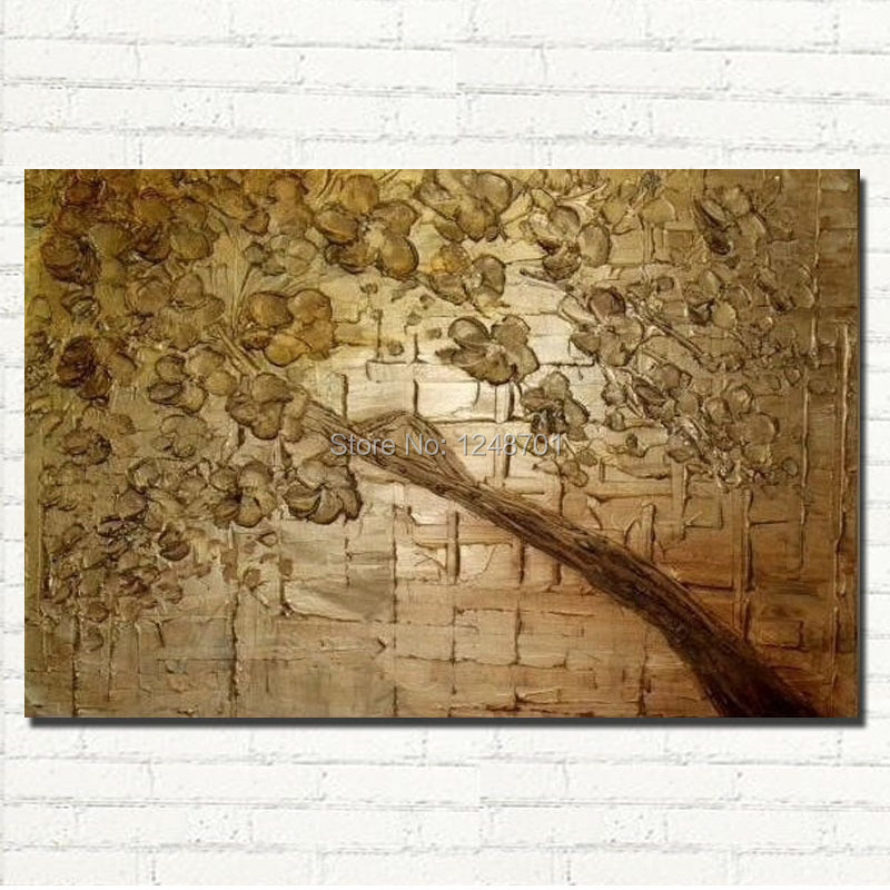 Unframed Large abstract tree palette font b knife b font flower Canvas Painting for Living Room
