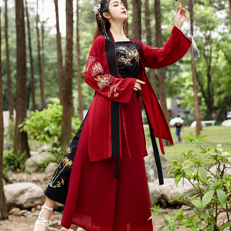 Red Hanfu 3pcs Suit For Women Summer Clothes Cosplay Ancient Costume Song Dynastic Stage Performance Show Dance Costume BL1822