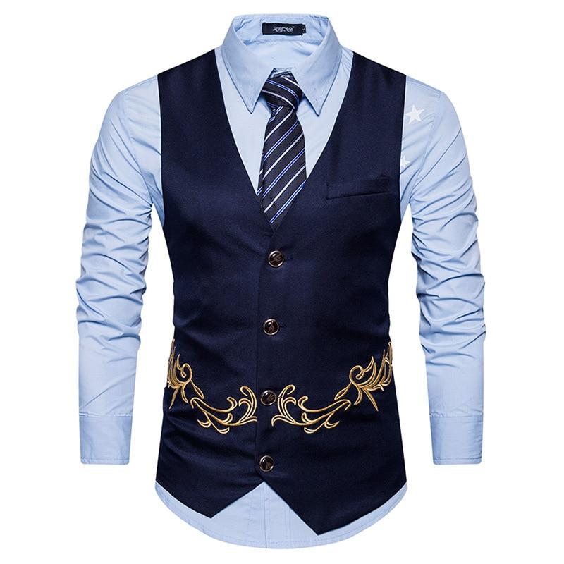 1835 22 De Descuento2018 Nuevos Chalecos De Vestir Para Hombres Ajustados Para Hombre Traje Chaleco Masculino Gilet Homme Casual Sin Mangas Formal