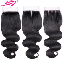 lanqi hair body wave Closure Free Middle Three Part Non remy Peruvian Human Hair 4x4 Swiss Lace Top Closure 8 to 22 Inch(China)
